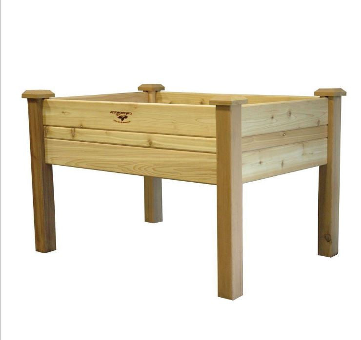 Elevated 2Ft x 4 Ft Cedar Wood Raised Garden Bed Planter Box Unfinished - YourGardenStop