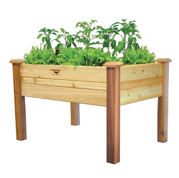 Elevated 2ft x 4ft Cedar Wood Raised Garden Bed Planter Box - YourGardenStop