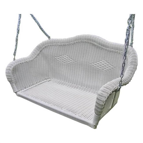 White Resin Wicker Porch Swing with 4-ft Hanging Chain - YourGardenStop