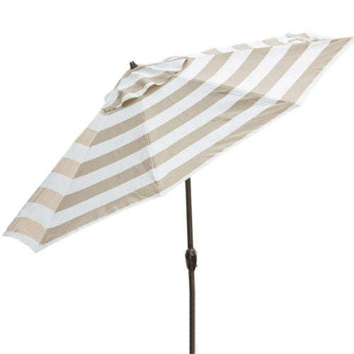 Beige and White Stripe 7.5-Ft Collar Tilt Patio Umbrella with Crank - YourGardenStop