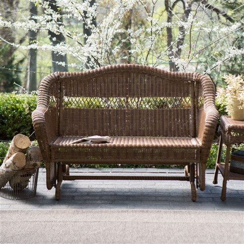 Walnut Resin Wicker 2-Seat Outdoor Glider Bench Chair