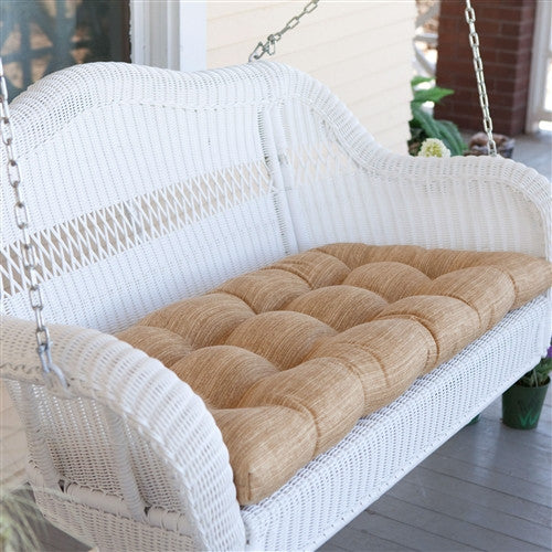 Wicker Swing w/Comfort Spring & Sand Cushion & Hanging Hooks