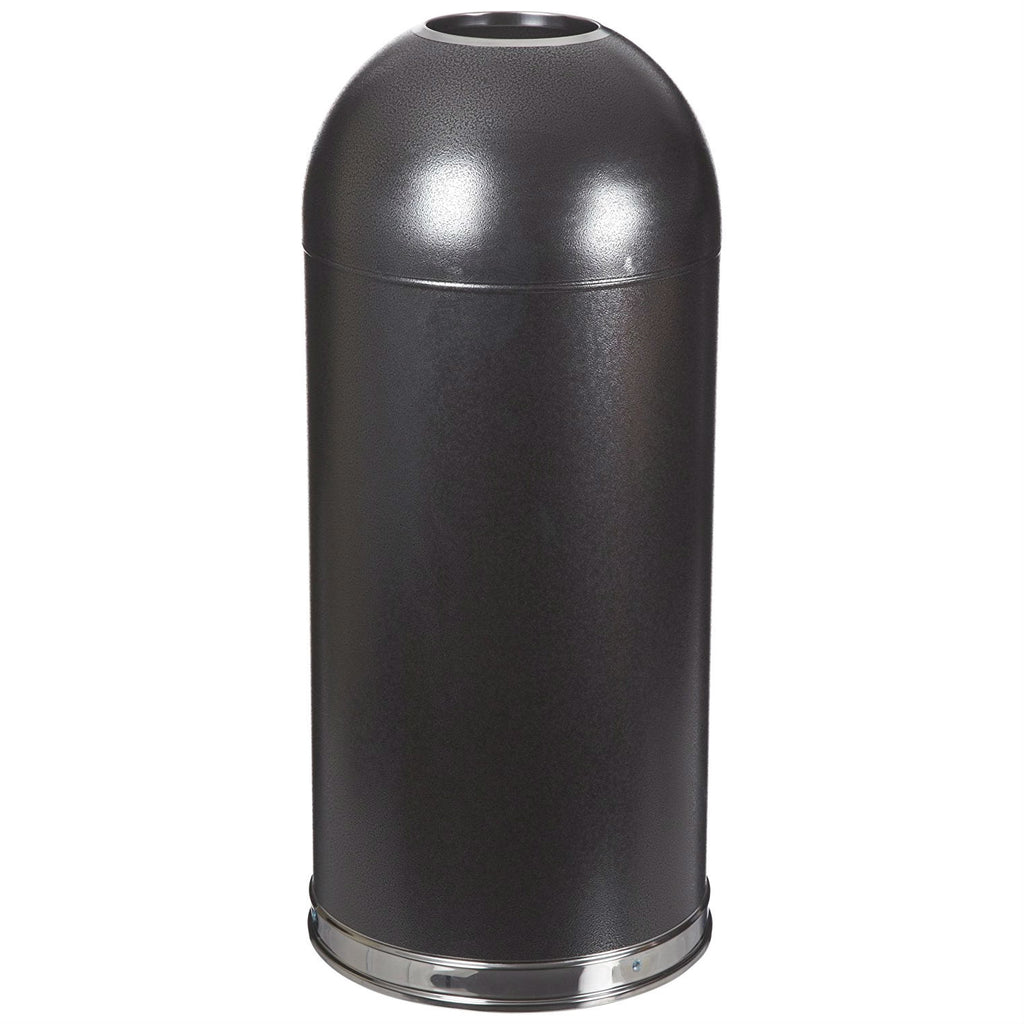 Black Steel 20-Gallon Round Waste Receptacle Trash Can - YourGardenStop