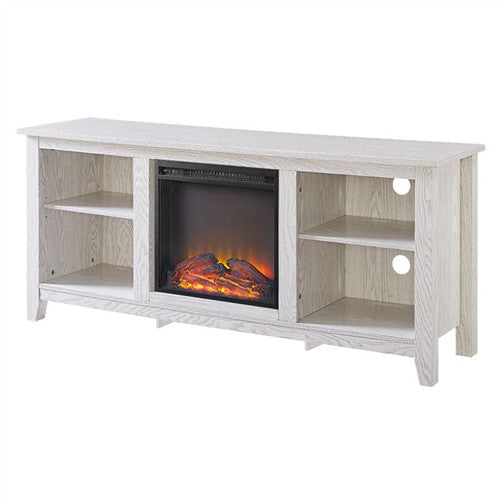 Whitewash 58 inch TV Stand Electric Fireplace Space Heater - YourGardenStop