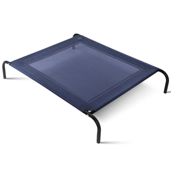 Extra Large Gray Blue Dog Steel Frame Elevated Pet Cot Mat Bed - YourGardenStop