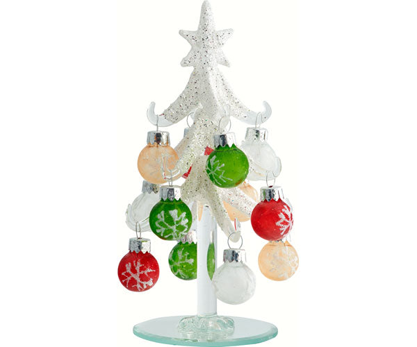 Tree - Frosted - 6 Inch - w/12 Ornament Balls - YourGardenStop