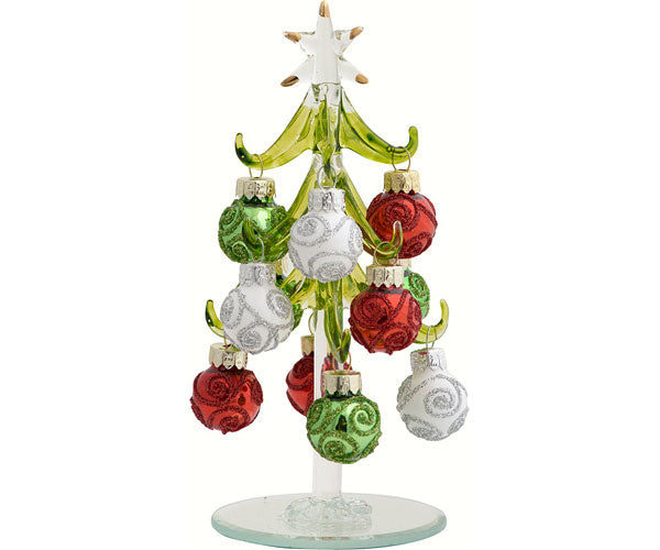 "Hand Crafted Green Glass Tree-6"" w/Red, Green, White Ornaments"