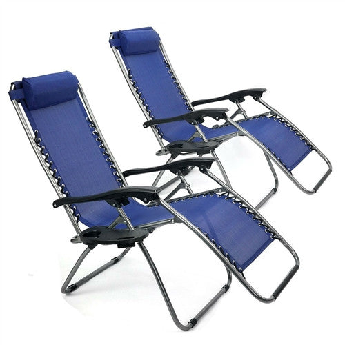 Set of 2 Navy Zero Gravity Reclining Lounge Beach Pool Outdoor Chair