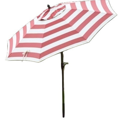 9 Ft Metal Patio Umbrella with Tilt and Crank Lift in Coral and White Stripe - YourGardenStop