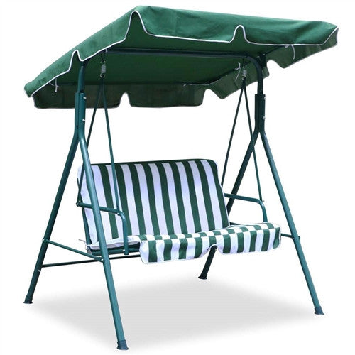 Outdoor Porch Patio Loveseat Canopy Swing in Green and White