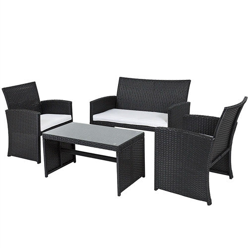 Black Resin Wicker 4-Piece Patio Furniture Set w/White Seat Cushions - YourGardenStop
