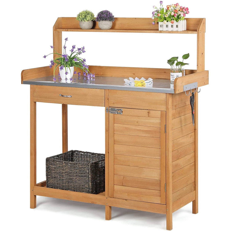 Natural Fir Wood Potting Bench with Stainless Steel Table Top - YourGardenStop