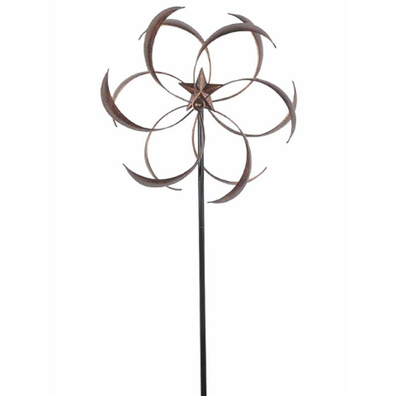 "Outdoor Powder Coated Metal Flower Star Wind Spinner with 76"" Stake - YourGardenStop"
