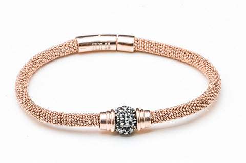 Rose Gold with Faux Black Diamonds