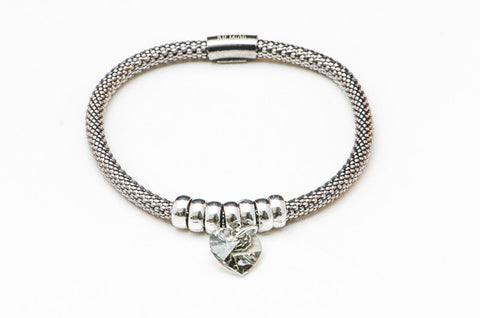 Smoky Grey Crystal Heart on Stretch .925 Silver Bracelet