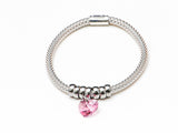 Pink Crystal Heart on Stretch .925 Silver Bracelet