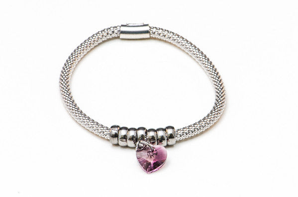 Purple Crystal Heart on Stretch .925 Silver Bracelet