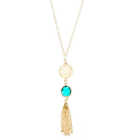 Gold	Chain Necklace with Tassel, Bali Charm & Choice of Stone