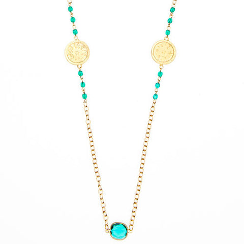 Gold Chain Necklace & Choice of Stones with 2 Bali Charms