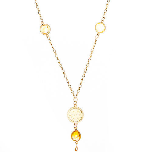 Gold Chain Necklace with Bali Charm with Stones