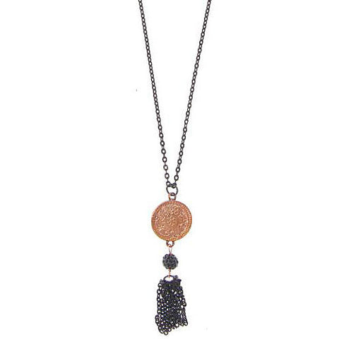 Blackened Chain with Rose Gold Bali Charm