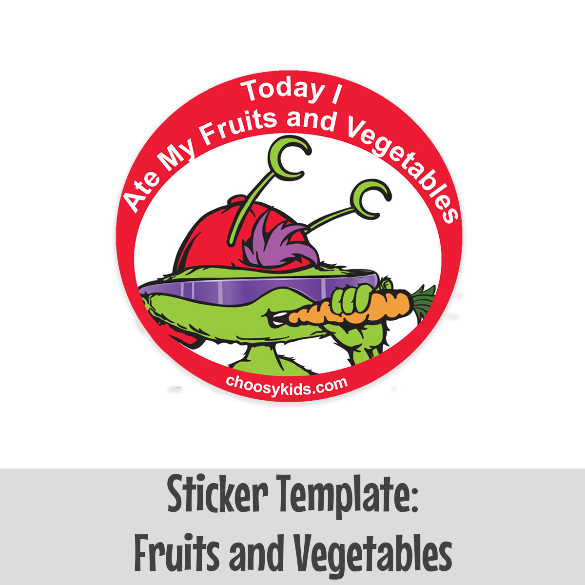 Sticker Template: Fruits and Vegetables
