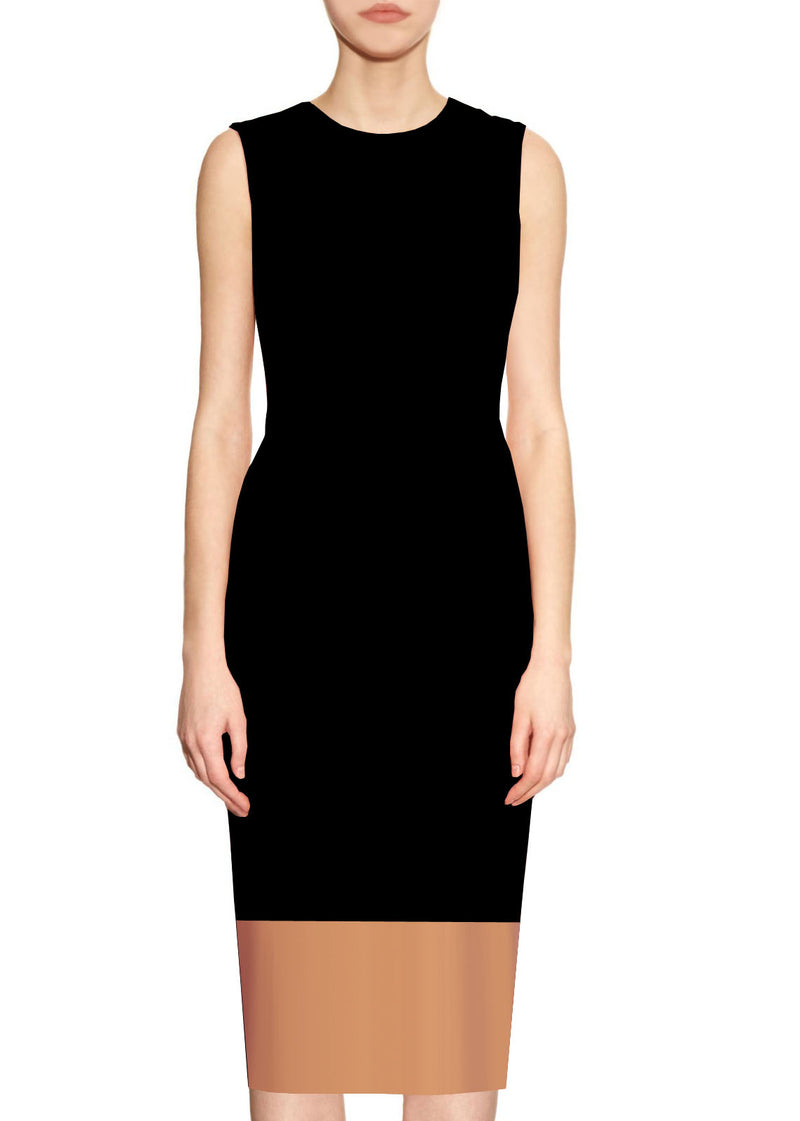Aura Black and Beige Sheath Dress