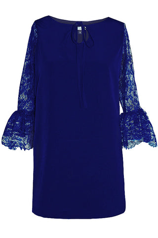Catriona Blue Shift Mini Dress with lace sleeves