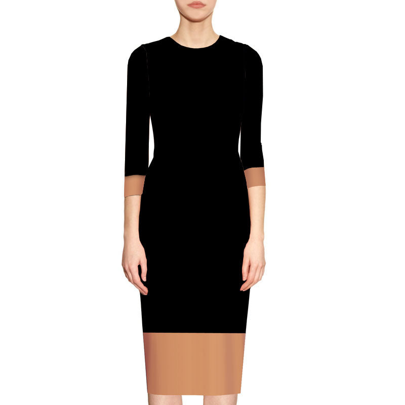 Elowyn Two Toned Sheath Dress - Black and Camel