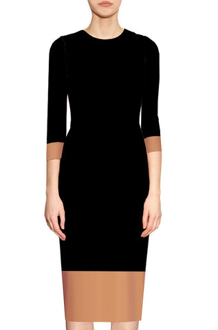 Aura Two Toned Sheath Dress - Black and Camel