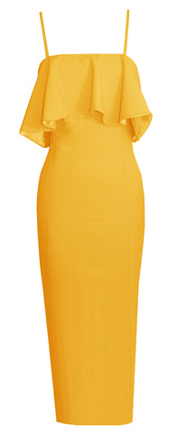 Alexandria Yellow Draped Dress