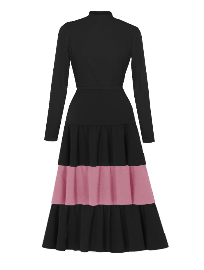 France Black and Pink High Neck Dress