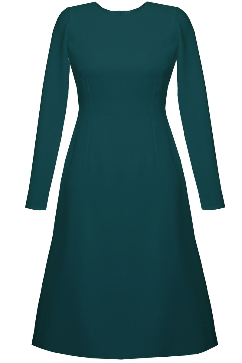 Teal A-line Knee Length Dress - Grace