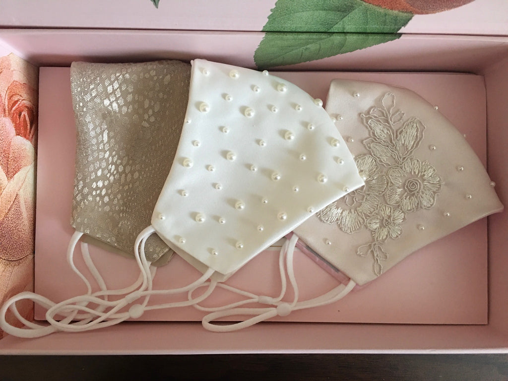 Inverness Embroiderd Lace and Pearls Face Mask