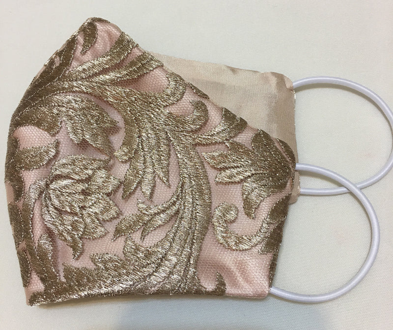 Tuileries Metallic Lace Gold and Dusty Rose Face Mask