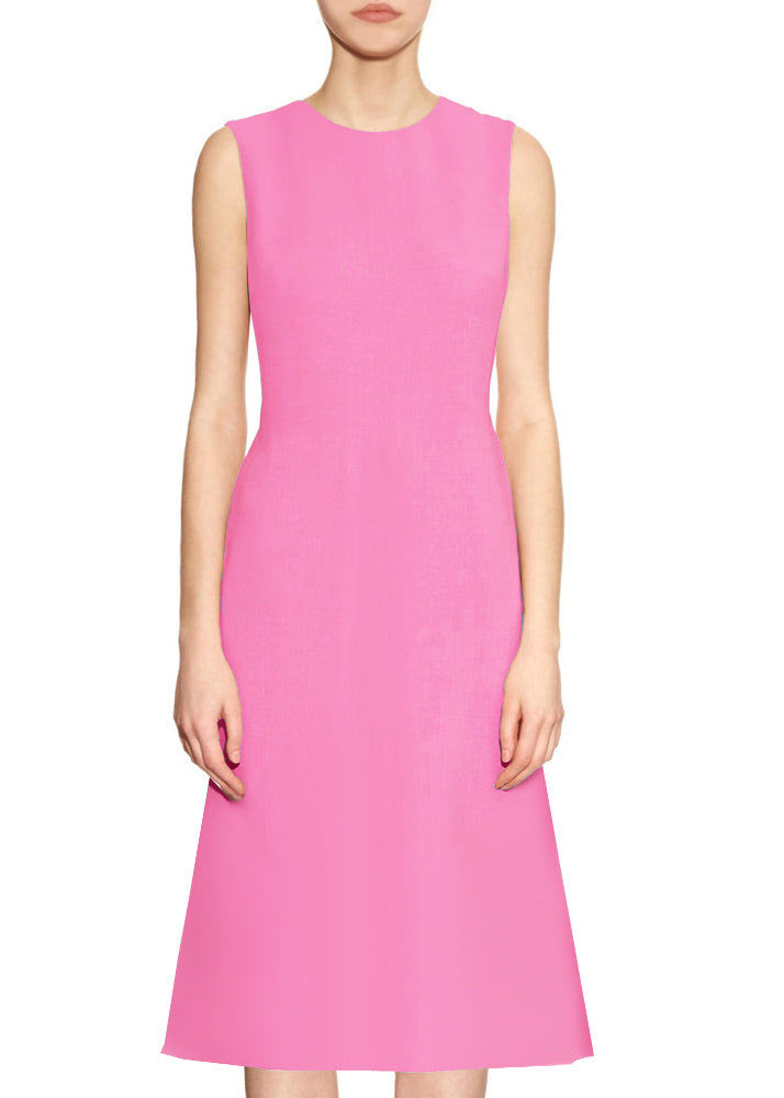 Kasi A-line Matte Crepe Dress with Jewel Neckline