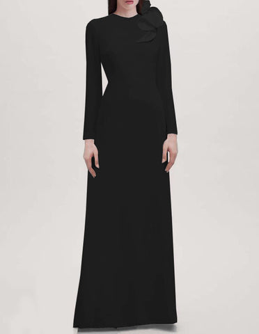 Seraphina Long Sleeves Crepe Gown - Black