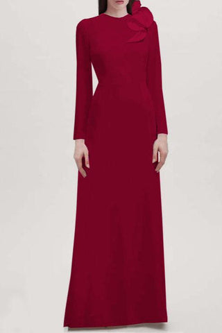 Seraphina Long Sleeves Crepe Gown - Red