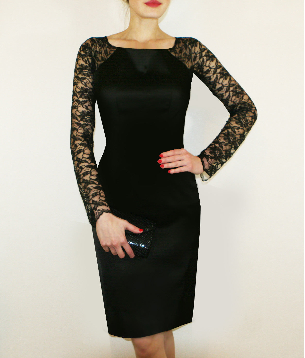 London Dress - Lace Sleeved Black dress