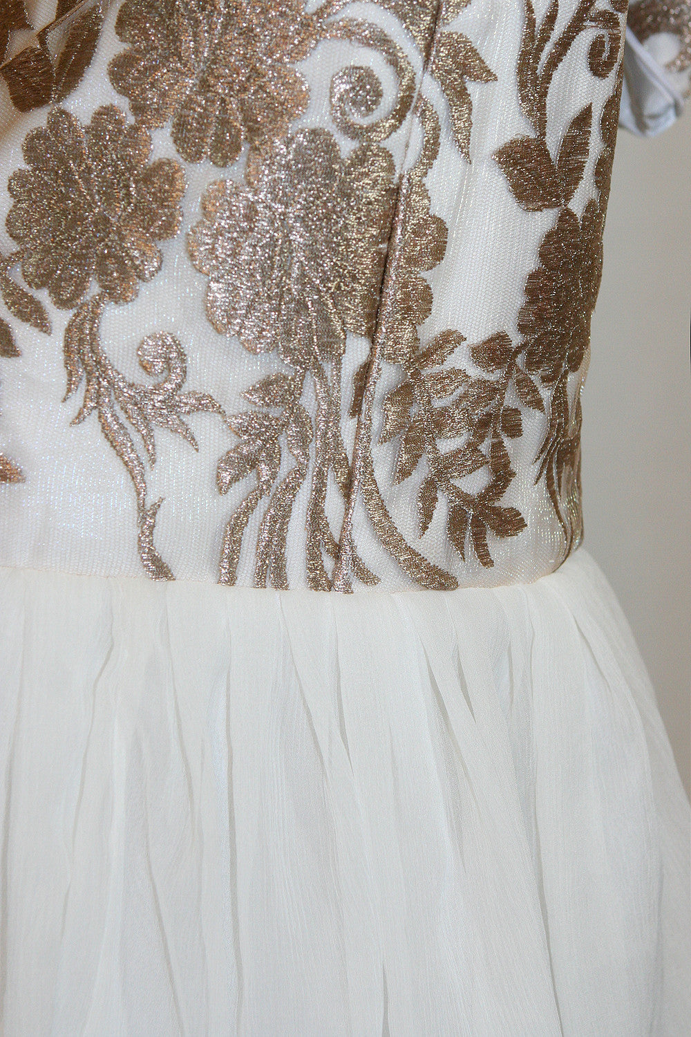 Adorla White and Gold Dress