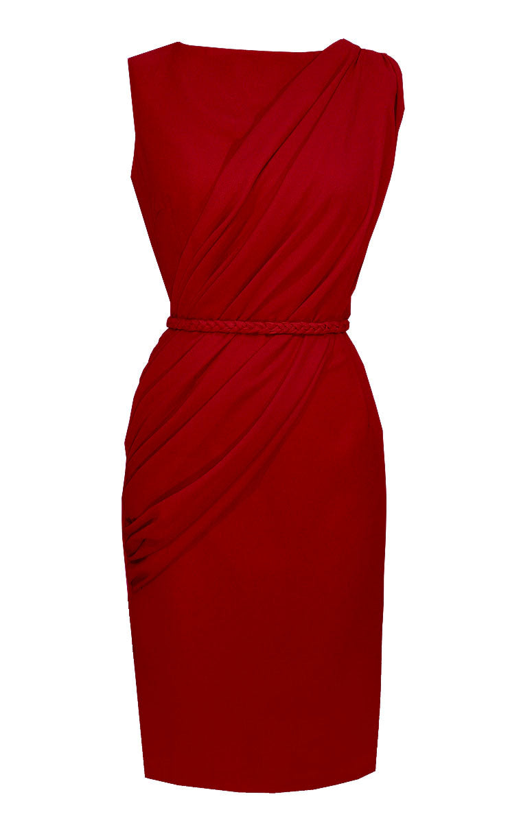 Red Draped Dress - Alexandria