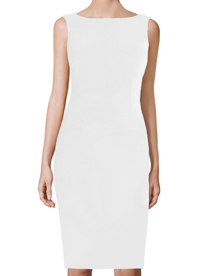 White Basic Sheath Dress with boat neckline - Aspen