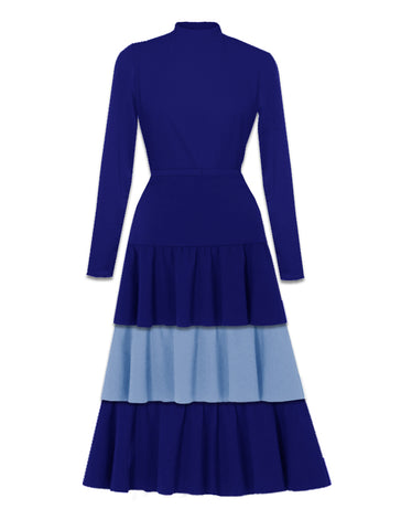 Two Tone High Neck Dress Blue -France