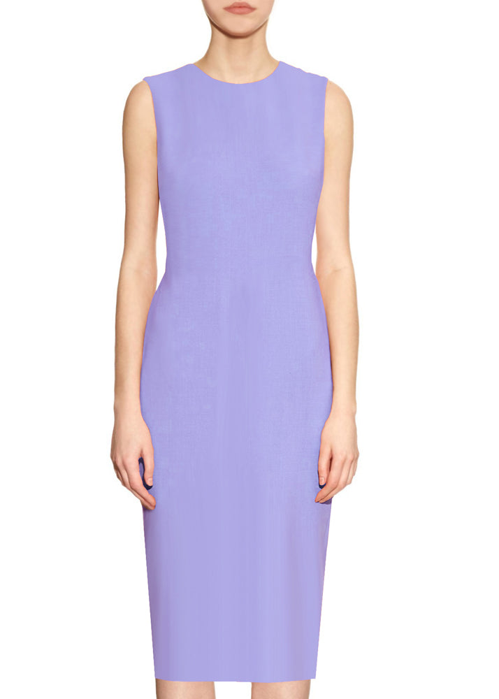 Lilac Basic Round Neck Sheath Dress - Krew