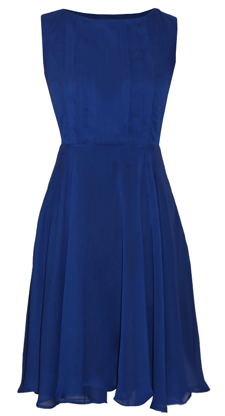 Lola Blue Knee Length Chiffon Dress with Full Skirt
