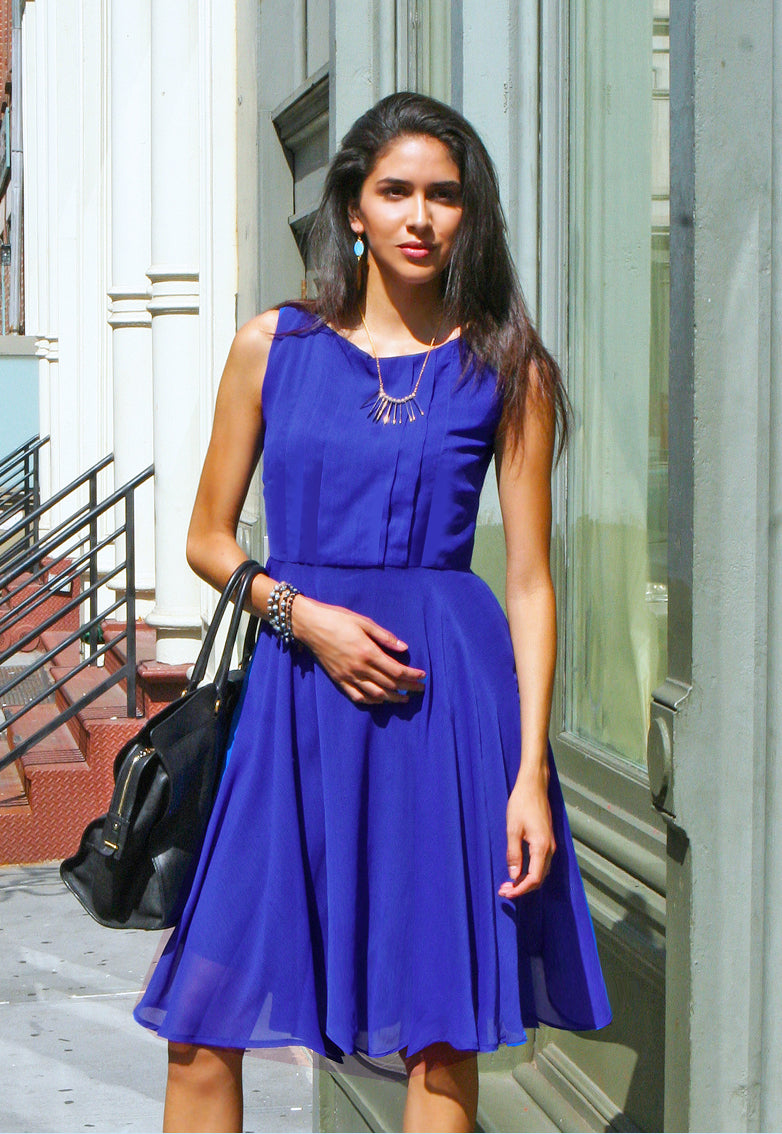 Lola Knee Length Chiffon Dress - Royal Blue