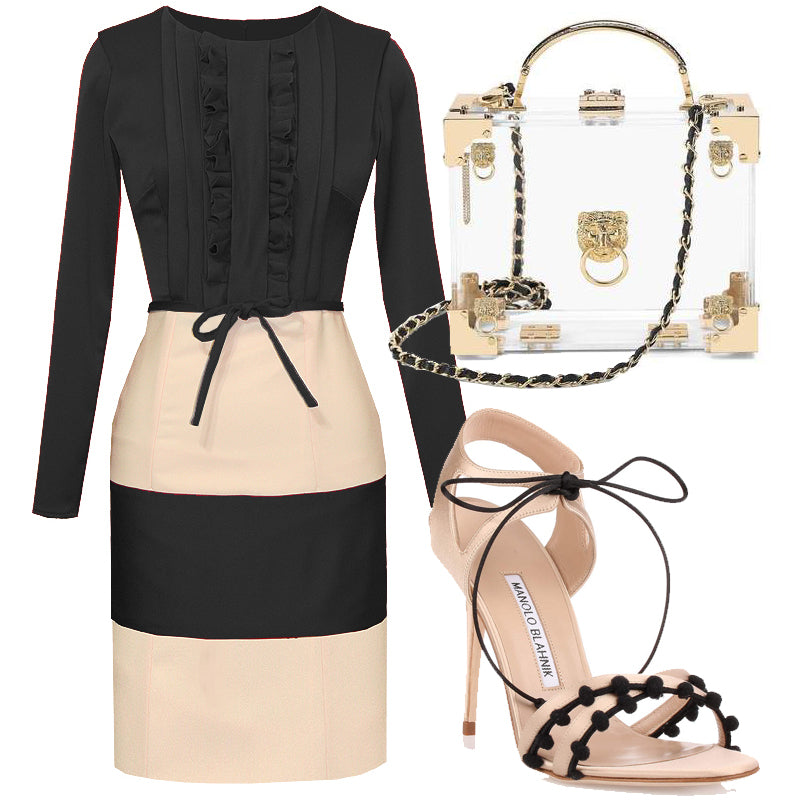 Cardiff Nude & Black Knee Length Two Toned Dress