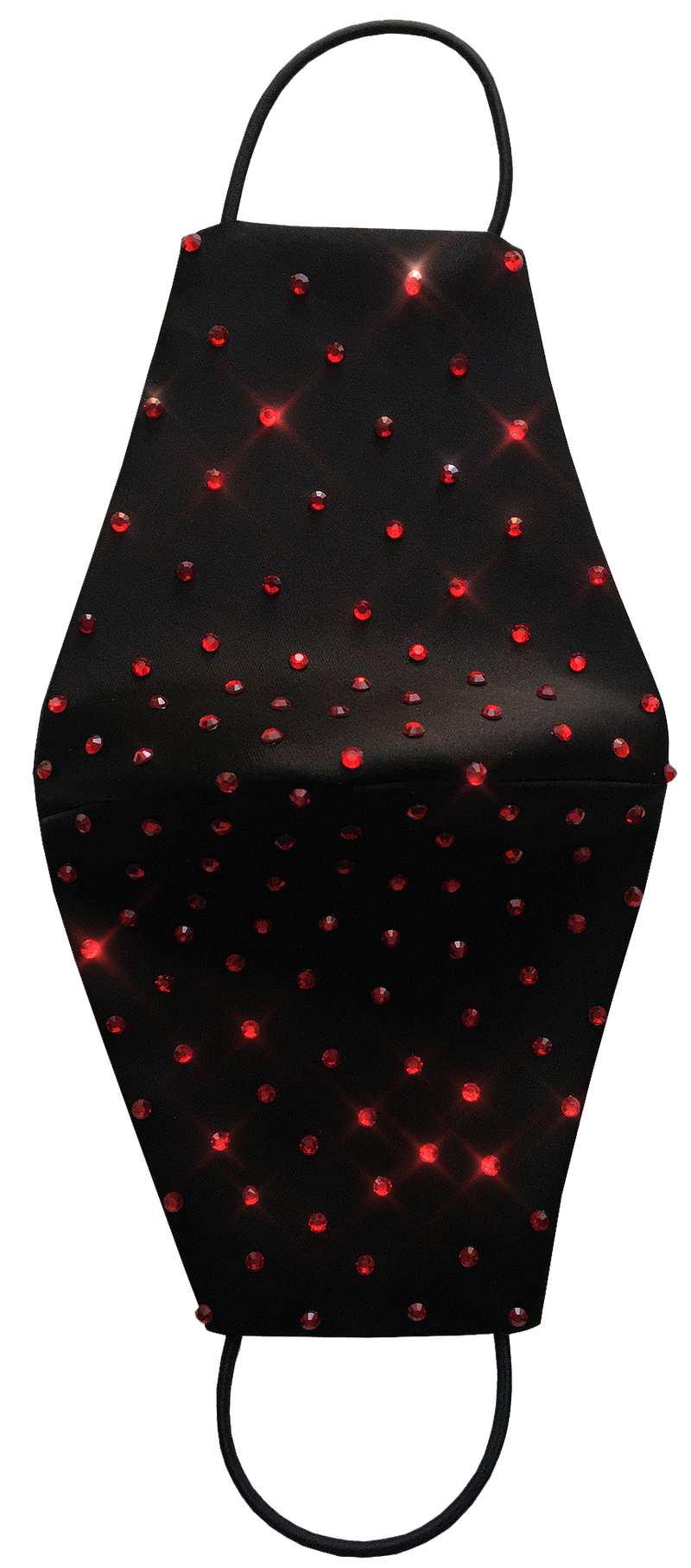 Astra Black Duchess Satin Face Mask with Red Rhinestones