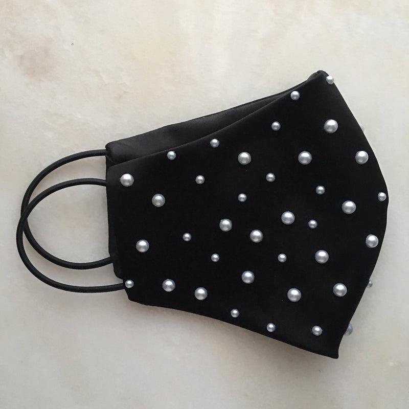 Skenna Black Face Mask with Pearls
