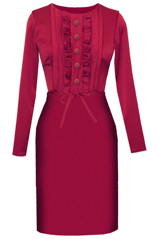 Raspberry Buttondown Sheath Dress - Calypso